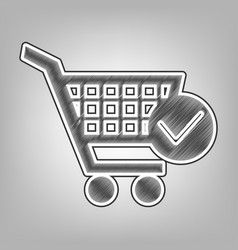 Shopping cart with check mark sign pencil vector