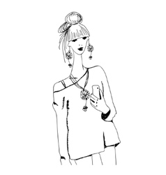 Sketch of young fashion woman in boho style with vector