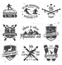 ski and snowboard club emblem vector image