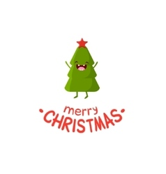 Tree cheerful christmas card vector