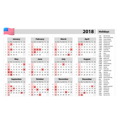 usa calendar 2018 - official holidays and vector image