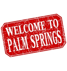 welcome to Palm Springs red square grunge stamp vector image vector image