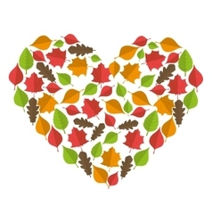 Autumn dry leaves heart vector