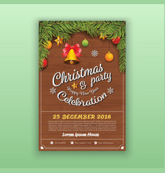 Christmas party decoration with wooden board vector