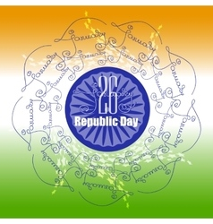 Ornamental poster indian republic day with mandala vector