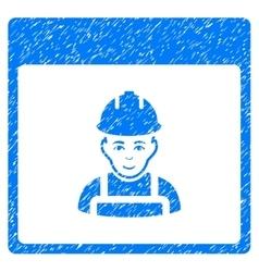 Worker calendar page grainy texture icon vector
