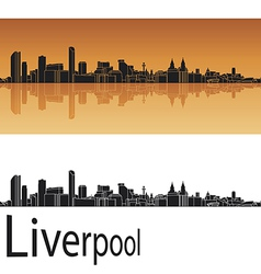 Liverpool skyline in orange background vector