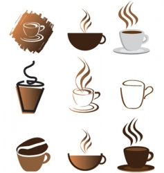 Coffee icons silhouette brown vector