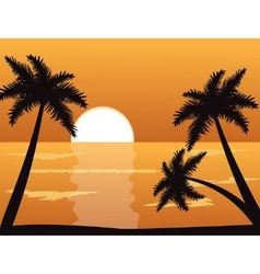 Seascape at sunset with palm trees vector