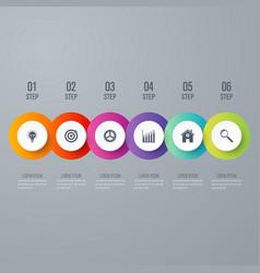 modern infographics six circle process template vector image