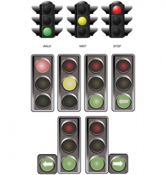 Few sets of traffic lights vector