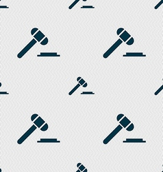 Judge hammer icon seamless abstract background vector