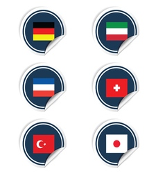 Sticker of flags color vector