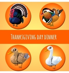 Thanksgiving day dinner four icons vector