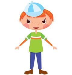 funny boy in baseball cap vector image