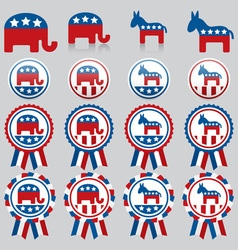 Republican and democrat badges vector
