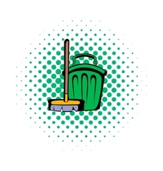 Broom and bucket comics icon vector