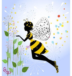 Flower girl fairy bee vector