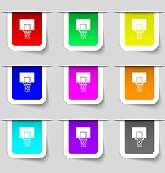 Basketball backboard icon sign set of multicolored vector