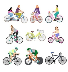 People on bicycles white background vector