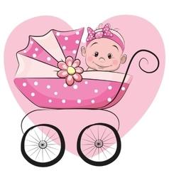 Cute cartoon baby girl vector image