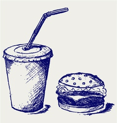 Big hamburger and soda vector