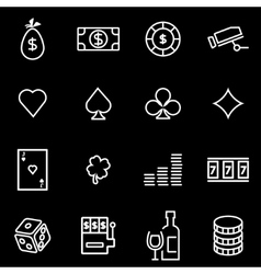Line casino icon set vector