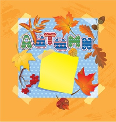 Background with autumn forest leafs and word autum vector