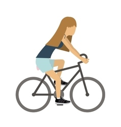 Female athlete practicing biking vector