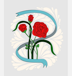 a bouquet of three red roses in a ribbon painted vector image