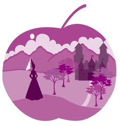 Apple with princess vector