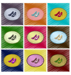 assembly flat shading style icons women high heel vector image vector image