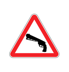attention crime gun in red triangle road sign vector image vector image