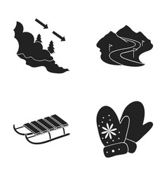 Avalanche sign ski slope sled mittens ski vector