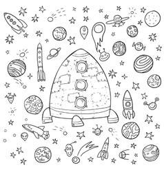Big space doodle set vector