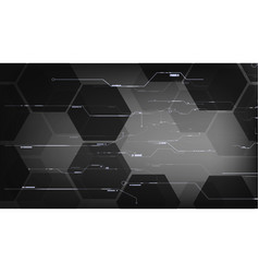 black hexagon technological interface backgrounds vector image vector image