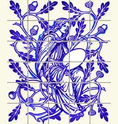 Blue oak fairy azulejo ceramic tile magnet vector