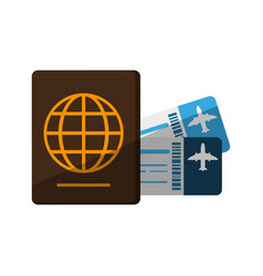 Boarding pass and passport icon image vector