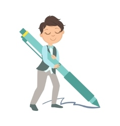 Boy in school uniform with giant pen vector