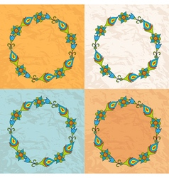 Circle of flowers on a background texture of paper vector image