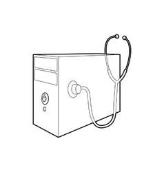 Computer system unit and stethoscope icon vector image