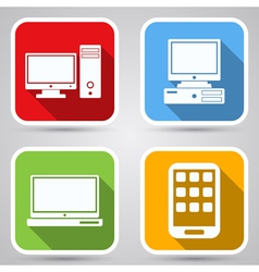 Computers flat icons vector