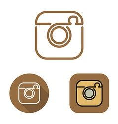 Contour social network cam icon and srtickers set vector image