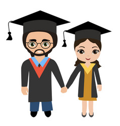 couple of young graduating students vector image