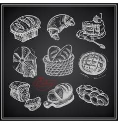 Digital drawing bakery icon set on black vector