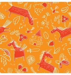 Doodle seamless pattern with magic unicorns vector