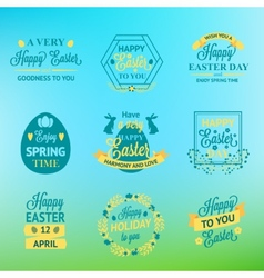 Easter labels and badges on blur background vector image