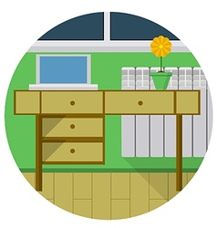 Flat icon for desk in room vector image