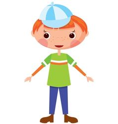 Funny boy in baseball cap vector