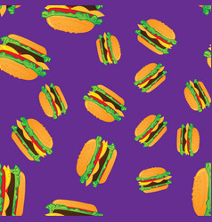 Hand drawn hamburgers fast food seamless pattern vector